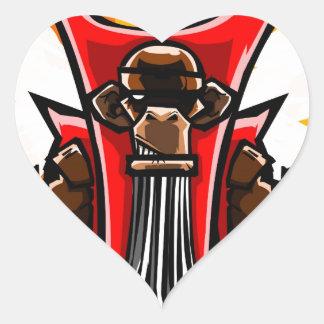 Primate con alas pegatina en forma de corazón