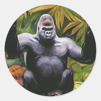 Primate de la selva del vintage, gorila de la pegatina redonda
