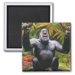 Primate del vintage, selva del gorila de la tierra imanes