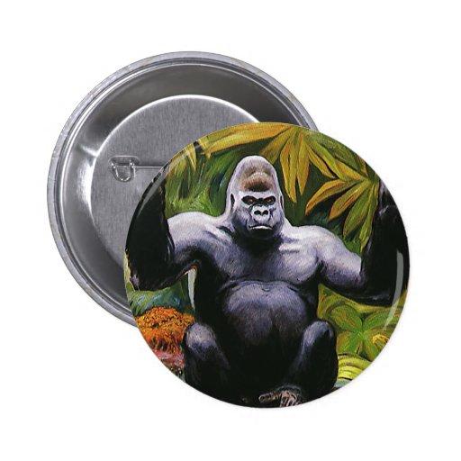 Primate del vintage, selva del gorila de la tierra pin