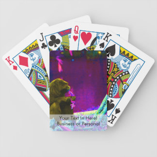 Primate eating greens on edge of land neon bicycle playing cards