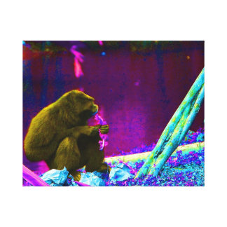 Primate eating greens on edge of land neon stretched canvas prints