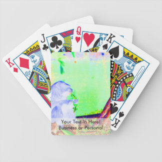 Primate eating greens on edge of land neon invert. bicycle playing cards