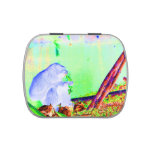 Primate eating greens on edge of land neon invert. jelly belly candy tin