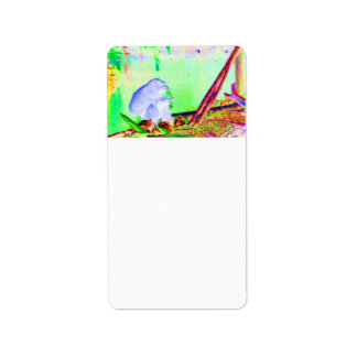 Primate eating greens on edge of land neon invert personalized address labels