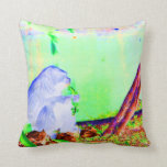 Primate eating greens on edge of land neon invert. throw pillows