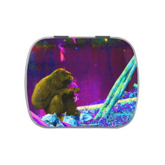 Primate eating greens on edge of land neon jelly belly tins