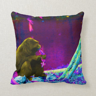 Primate eating greens on edge of land neon throw pillow
