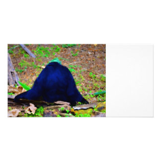 primate from the back blue green animal photo card