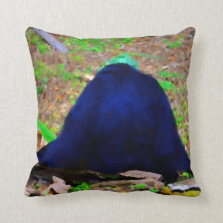 primate from the back blue green animal throw pillow