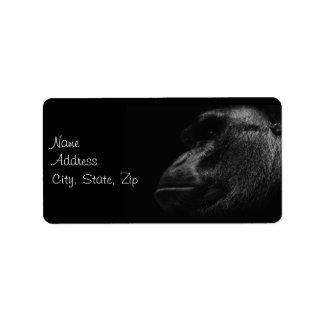 Primate Gorilla Ape in Black and White Custom Address Label