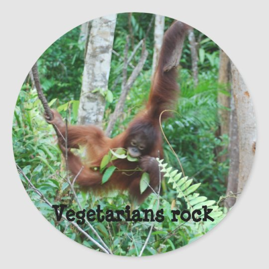 Primate Vegetarians Rock ! Classic Round Sticker