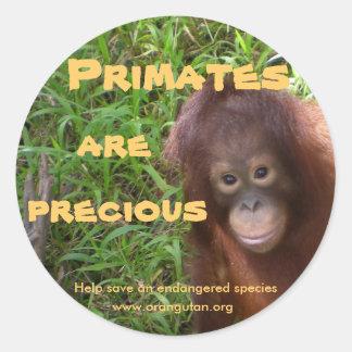 Primates are Precious Round Stickers