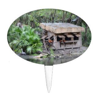 primates on tiki style monkey hut at zoo cake topper