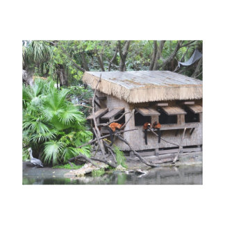 primates on tiki style monkey hut at zoo stretched canvas prints