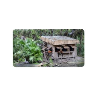 primates on tiki style monkey hut at zoo personalized address label