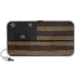primative wood american flag: red, white, blue iPhone speakers