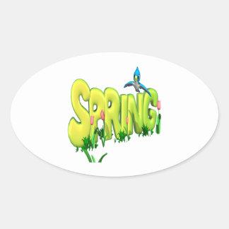 Primavera 3 pegatinas de ovaladas