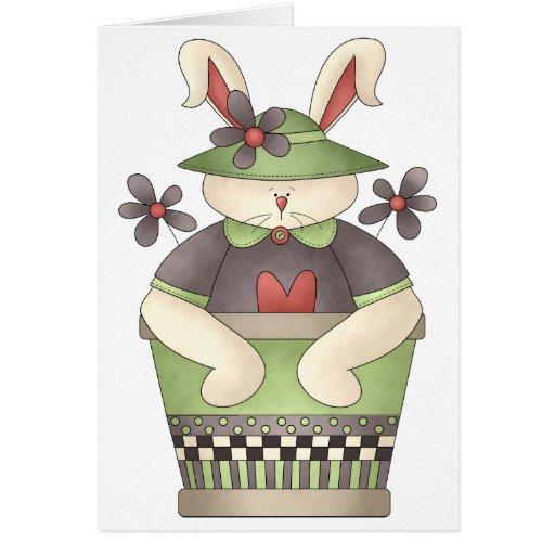 Primavera agradable · Conejito y maceta verde Tarjeta De Felicitación