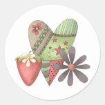 Primavera agradable · Corazón, fresa y flor Pegatinas Redondas