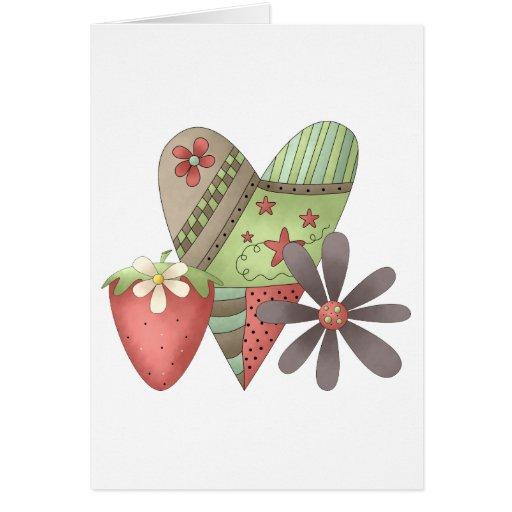 Primavera agradable · Corazón, fresa y flor Tarjeta De Felicitación