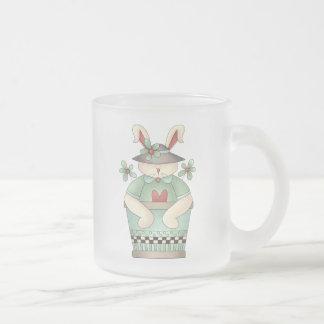 Primavera agradable · Maceta del conejito y del Taza De Café Esmerilada