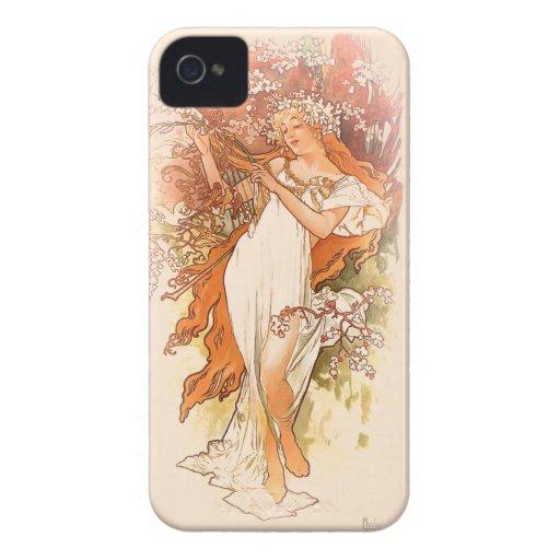 Primavera - arte Nouveau de Alfonso Mucha Carcasa Para iPhone 4