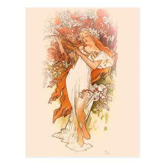 Primavera - arte Nouveau de Alfonso Mucha Postal