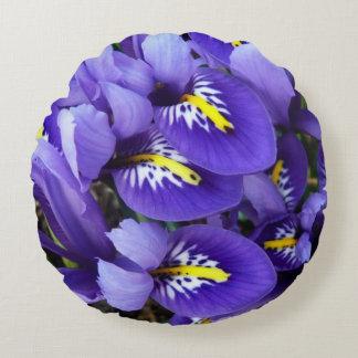 Primavera azul miniatura de los iris floral cojín redondo