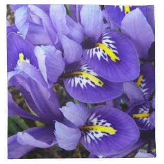 Primavera azul miniatura de los iris floral servilleta imprimida