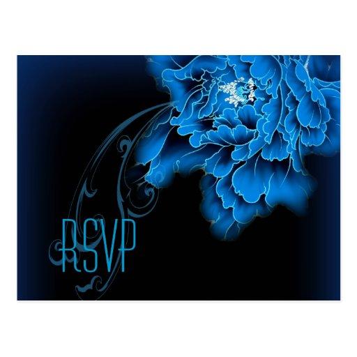 primavera azul RSVP que se casa floral del peony Postales