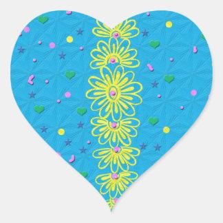 Primavera azul y amarilla pegatina en forma de corazón