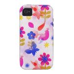 Primavera colorida de los pájaros de las mariposas Case-Mate iPhone 4 carcasas