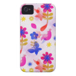 Primavera colorida de los pájaros de las mariposas iPhone 4 fundas