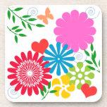 Primavera colorida floral posavasos de bebida