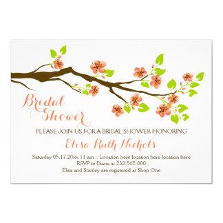 """Primavera coralina de las flores de cerezo que invitación 5"""" x 7"""""""