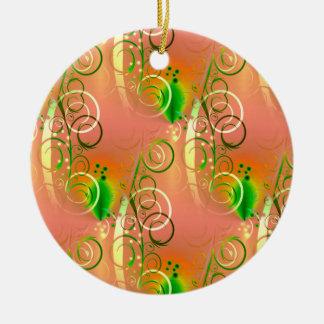 Primavera coralina hermosa del amarillo del verde adorno redondo de cerámica