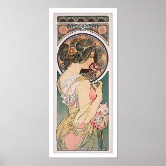 Primavera de Alfonso Mucha - arte floral del vinta Impresiones