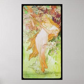 Primavera de Alfonso Mucha Printemps Poster