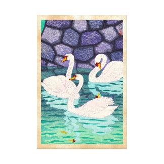 Primavera de Kasamatsu Shiro en los cisnes Hanga d Impresión En Lienzo Estirada
