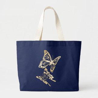 Primavera de las mariposas del oro bolsa de tela grande