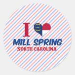 Primavera del molino, Carolina del Norte Pegatina Redonda