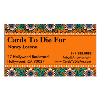 Primavera del verano en el naranja - tarjetas de v plantillas de tarjetas de visita
