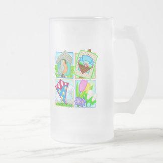 Primavera/diseño estacional del verano taza cristal mate