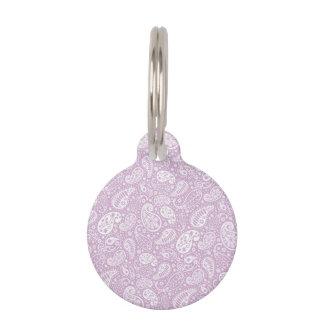 Primavera en colores pastel Paisely de la lila Identificador Para Mascotas