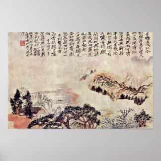 Primavera en el río mínimo por la ji de Tao (la me Poster