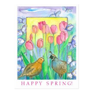 Primavera feliz de la acuarela rosada del tulipán tarjetas postales