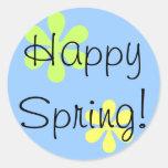 ¡Primavera feliz! Etiqueta Redonda