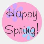 ¡Primavera feliz! Etiquetas Redondas