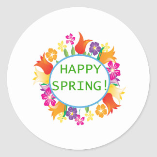 Primavera feliz pegatina